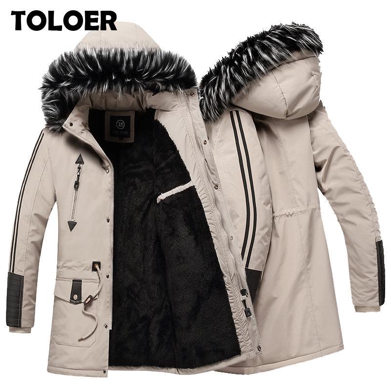 Kış Parkas Erkekler Yeni Kalınlaşmak Sıcak Ceket Erkek Yüksek Kalite Fleece Moda Parka Mont Erkek Casual ceketler Kapşonlu Pamuk Dış Giyim