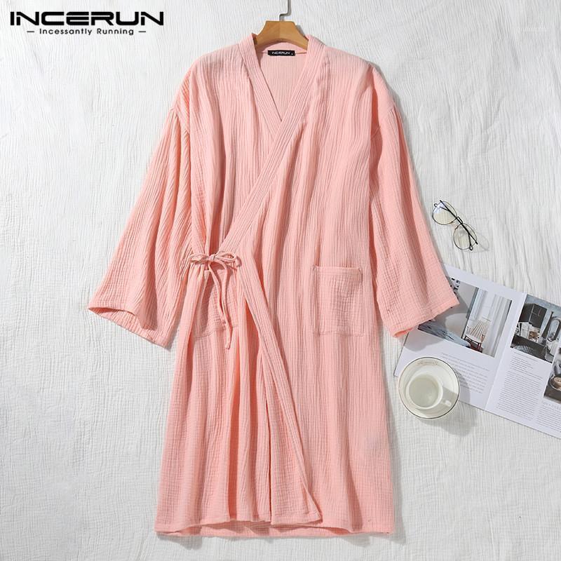 Мужские сонные хлопковые мужчины одевает 3/4 рукав V шеи кимоно сплошной случайные японские дышащие пары пижамы халаты S-5XL incerun1