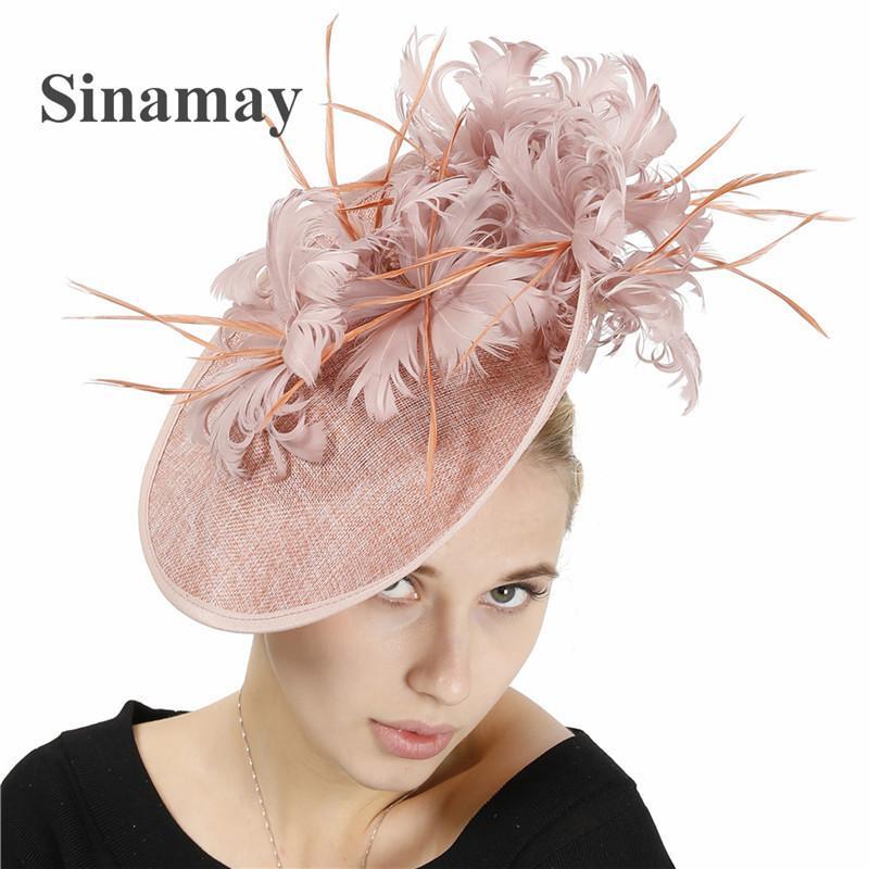 Sinamay Kentucky Derby Cappello donna elegante chiesa di nozze cappello di Fedora vino ufficiale casco chiesa grande charme estate