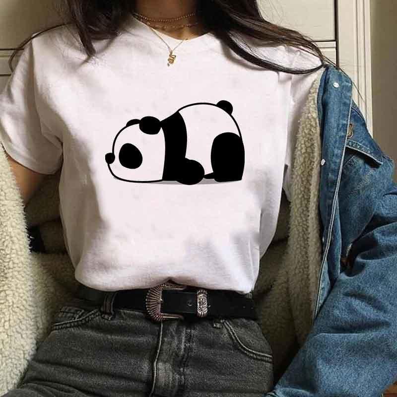 Женская футболка мультфильм слон Panda с коротким рукавом милые дамы хараджуку графические тройники топ женщины