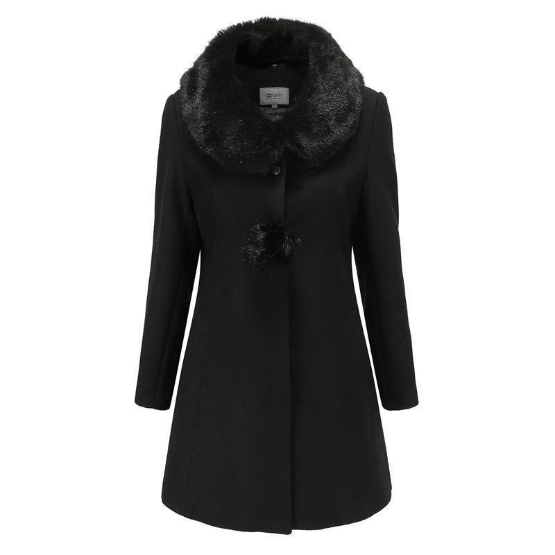Abrigo de invierno para mujer con cuello de piel Color sólido Chaqueta de manga larga Femenina gruesa abrigo de cuello caliente mujeres de cintura ancha 2021 Nuevo