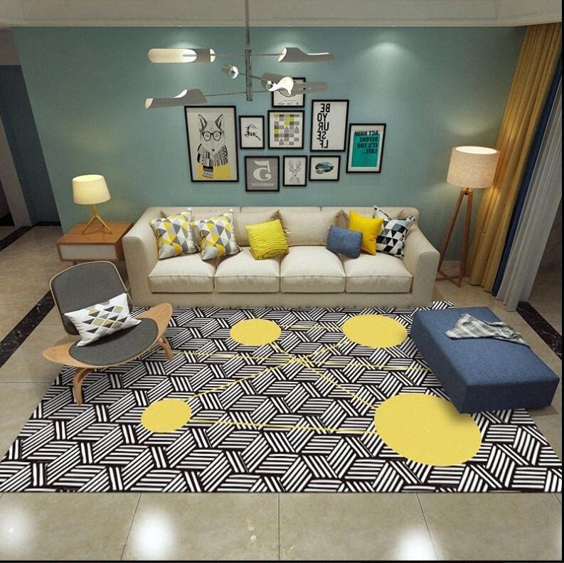 Ins Geometric Black White Tapetes Tapetes mesa de café moderna Sala de estar não escorregar Tapete Modern Home Decor Floor Mats wQO2 #
