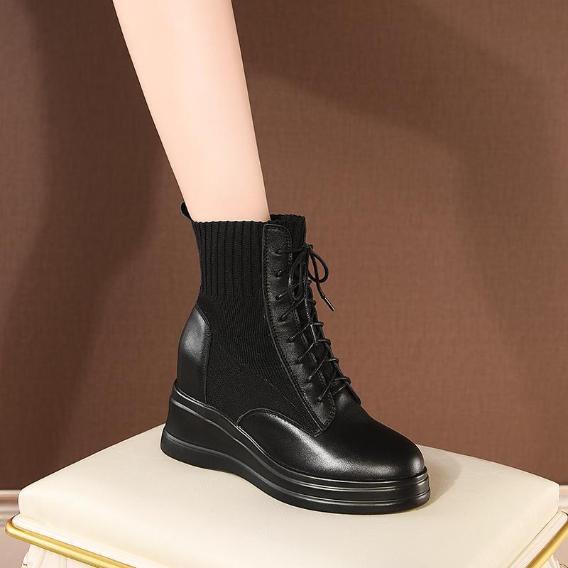 부츠 양말 여성 가을 겨울 레이스 업 발목 하이힐 웨지 플랫폼 캐주얼 신발 여자 정품 가죽