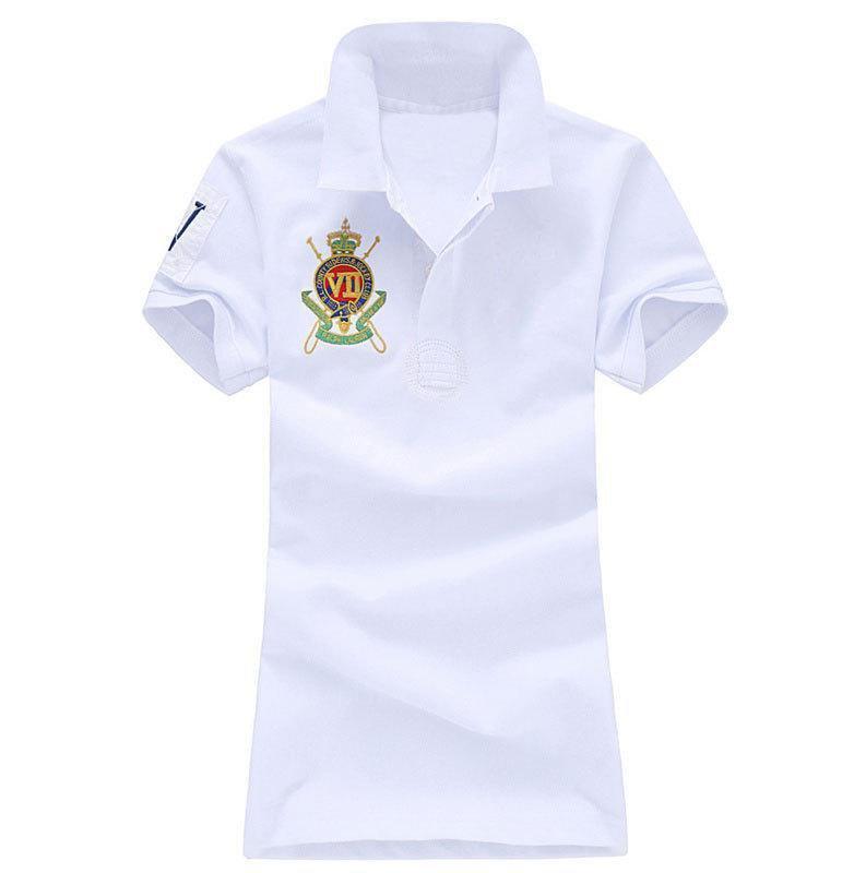 Vente en gros d'été Slim manches courtes T-shirt couleur unie Polo brodé Lapel 100% coton Designer Luxury T-shirt Polo Femmes