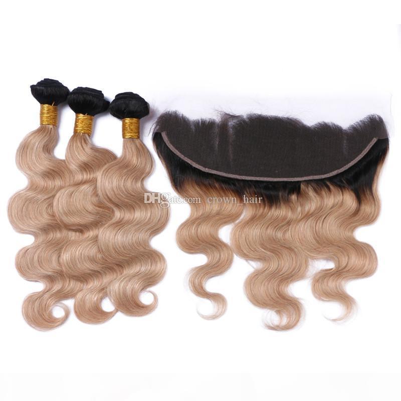 Orelha Ombre cor # 1B 27 Cabelo Pacotes com laço frontal escuro Encerramento Root Corpo Cabelo Wave To Ear frontal com extensões de cabelo