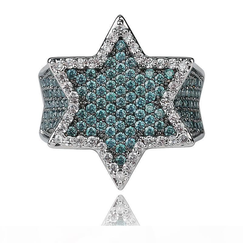 Hip Hop Mint Green Zirconia Bling Hexagon Ring 18K Gold Plated Men's Finger Ring Luxurious Diamond Rap Ring