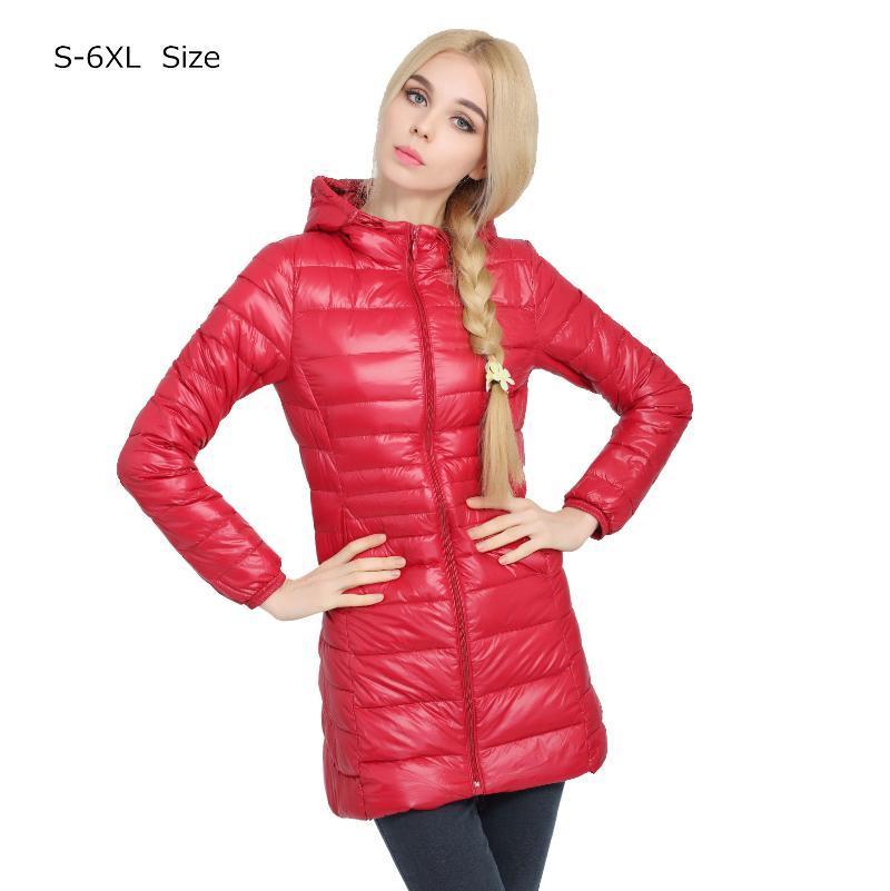 2020 New Casual Brand Lady Winter Warm Coat Women Ultralight White Duck Down Jacket Female Long Down Parka High Filling Power