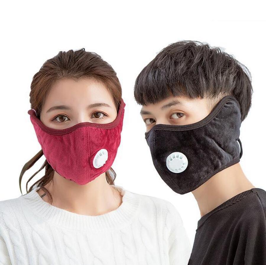 Máscara Earmuffs inverno Cotton Respirar válvula Grosso respirável Ciclismo Máscara Unisex lavável Aqueça máscara do partido Capa Boca DDA716