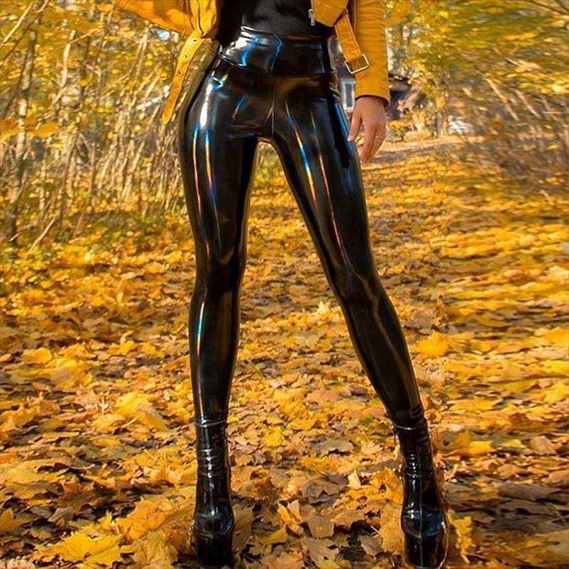 Sexy PU Patente Calças De Couro Brilhante Calça De Couro Calças Mulheres Black Latex Meninas Slim Skinny Calças Feminino Macio Macio Legging