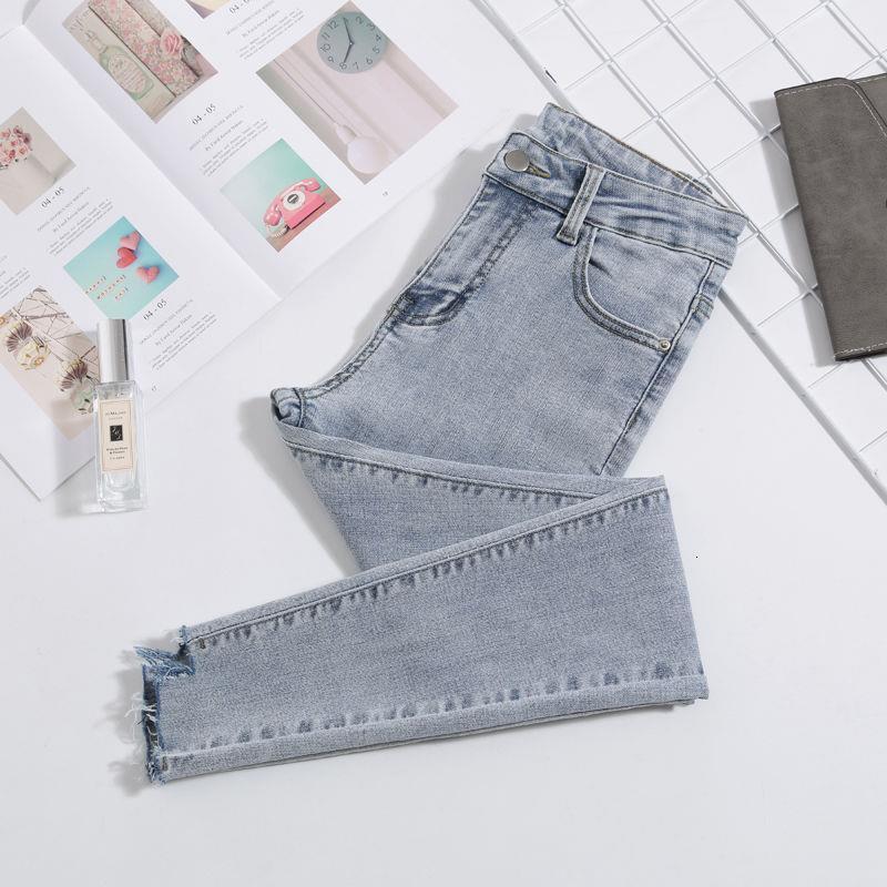 Damenjeans plus Größe mit hohen Taille Stretch gewaschene dünnen Stretch Jeans Weiblicher Jeanshosen 2019 Bleistift-Hosen Hellblau Grau Schwarz