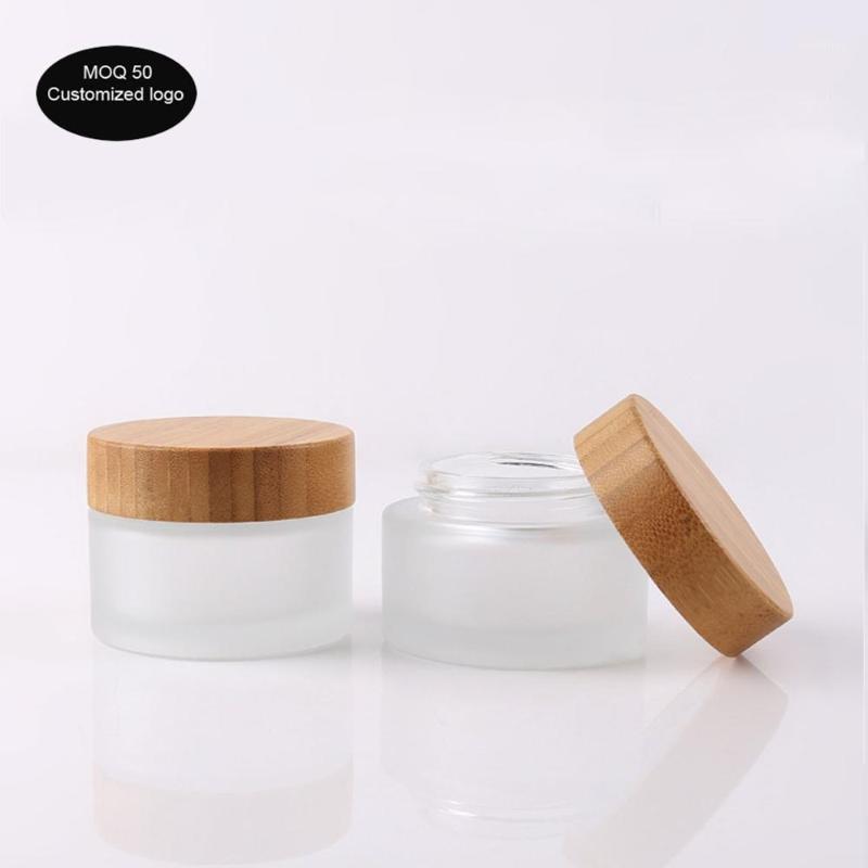 50pcs / lot 5g / 15g / 30G / 50G / 100G 1OZ 2OZ Cubierta de bambú de jarra cosmética de alto grado 3oz 3oz, frascos de bambú de cristal escarchados para envases cosméticos1