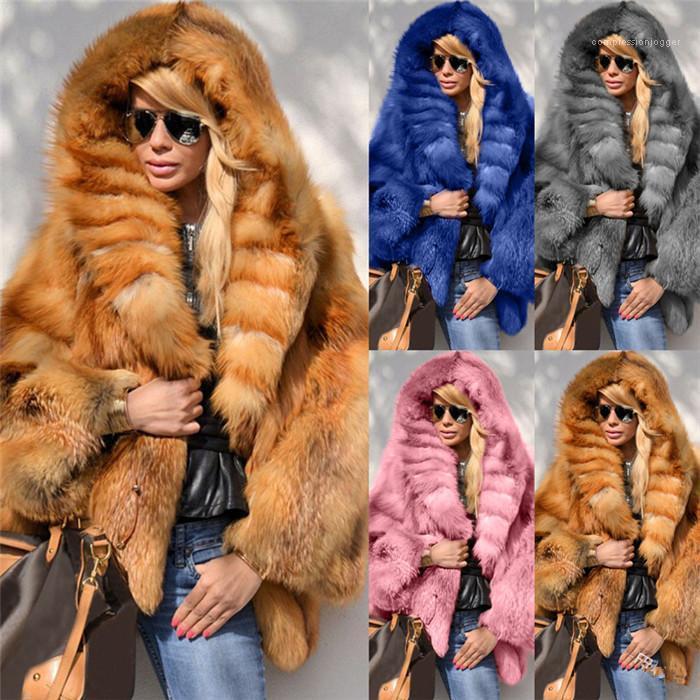 Faux Pelzmäntel Feste Farbe Lose Langarm Warme Wintermantel Mode Kausale Kapuzenfrauen Oberbekleidung Kleidung Plus Größe Womens