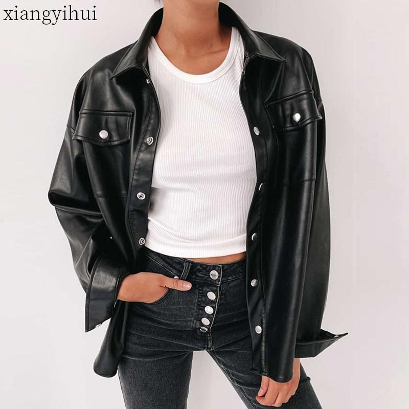 Motorcycle Faux Leather Shirt Women Fashion Metal Single-breasted Pu Leather Shirt Woman Autumn Winter Long Sleeve Shirts Tops T200722