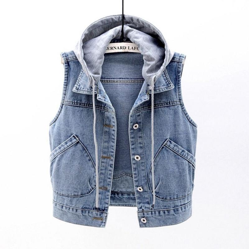 여성용 조끼 데님 조끼 여성 짧은 2021 봄 후드 큰 포켓 민소매 재킷 모든 일치 슬림 탑 Cardigan S-XXXXL