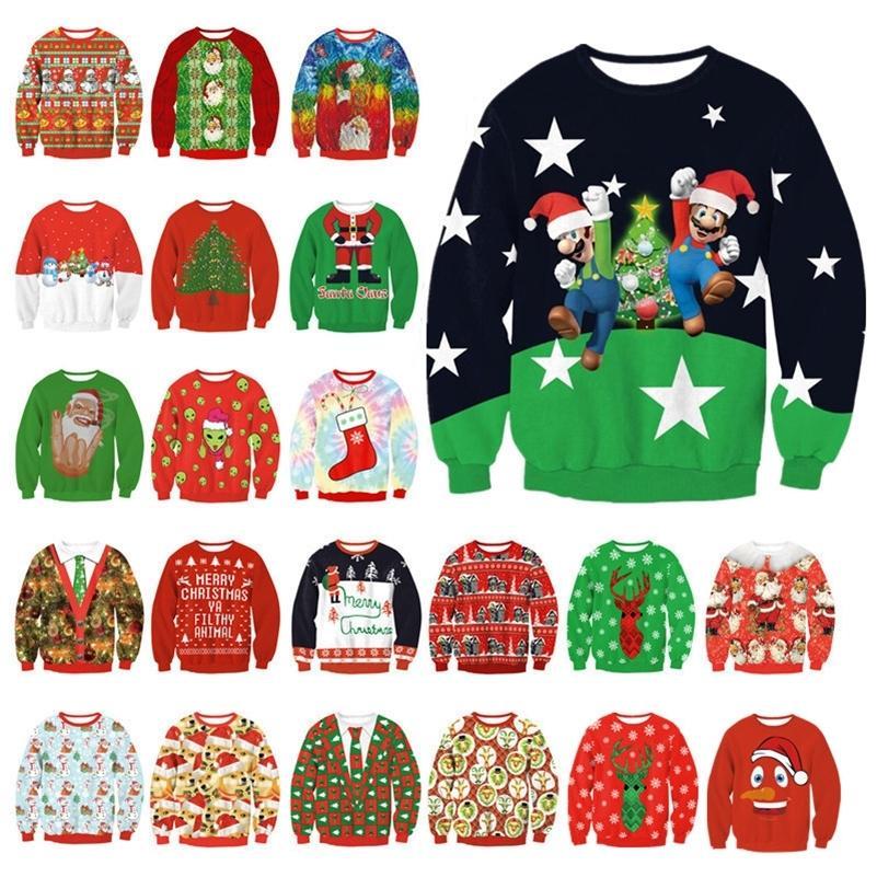 Nova Unisex Homens Mulheres Camisola feia para férias em Santa Elf Natal Impresso novidade Outono Inverno Blusas Roupa Y200930