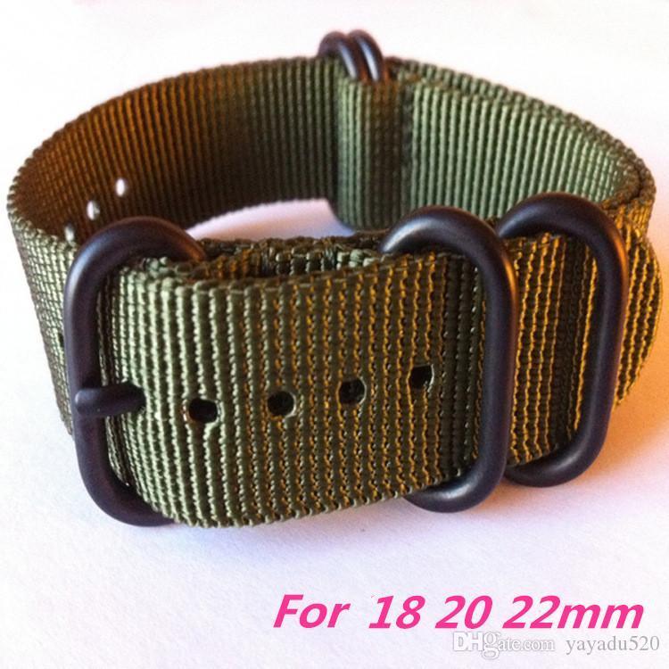 Yeni İçin Suunto Core 24mm Watchband Yeşil Siyah Taktik Naylon Zulu 5 Halkalar Pvd Kayış Watch Band Ücretsiz Nakliye DHL -112