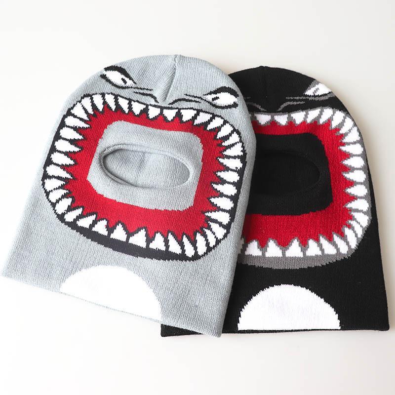 Baby Kids Garçon Filles Shark Face Dessin animé Bonnet Hiver Chapeau Neuf Drôle Track Drôle Track Ski Chaud Tuyau Bonnet Bonnet Bonnet Casquette Cap E122502