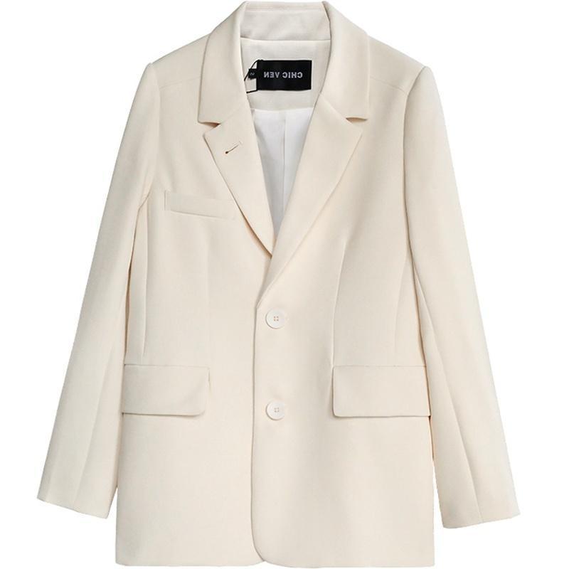 Kadınlar Blazer Kore Sürüm Beyaz Ceket Bayan Long Sleeve yönlü Sonbahar Kadın Bluz Gevşek Suit