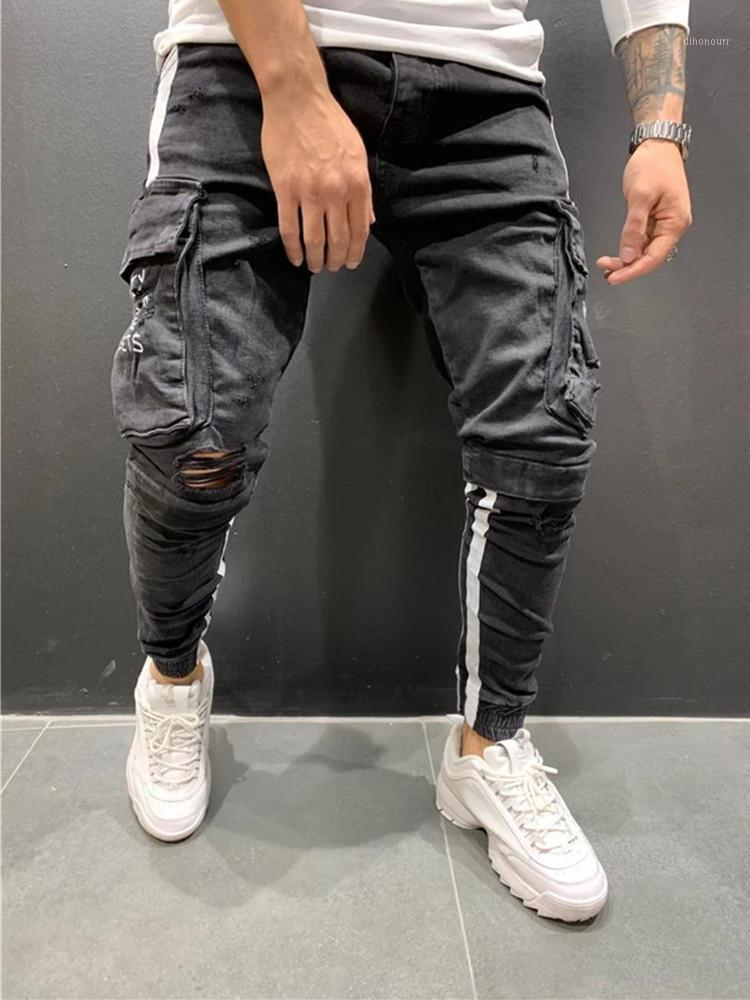 Männer Kleidung Hip Hop Sweatpants Skinny Motorrad Denim Hosen Reißverschluss Designer Black Jeans Herren Casual Men Jeans S-3XL1