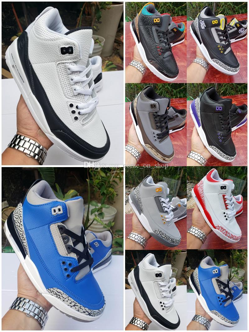 yeni varış 2020 Jumpman 3 UNC 3s erkek kadın basketbol ayakkabıları Fragment Knicks Saten Retro Chicago Eğitmenler Sneakers Rakipler