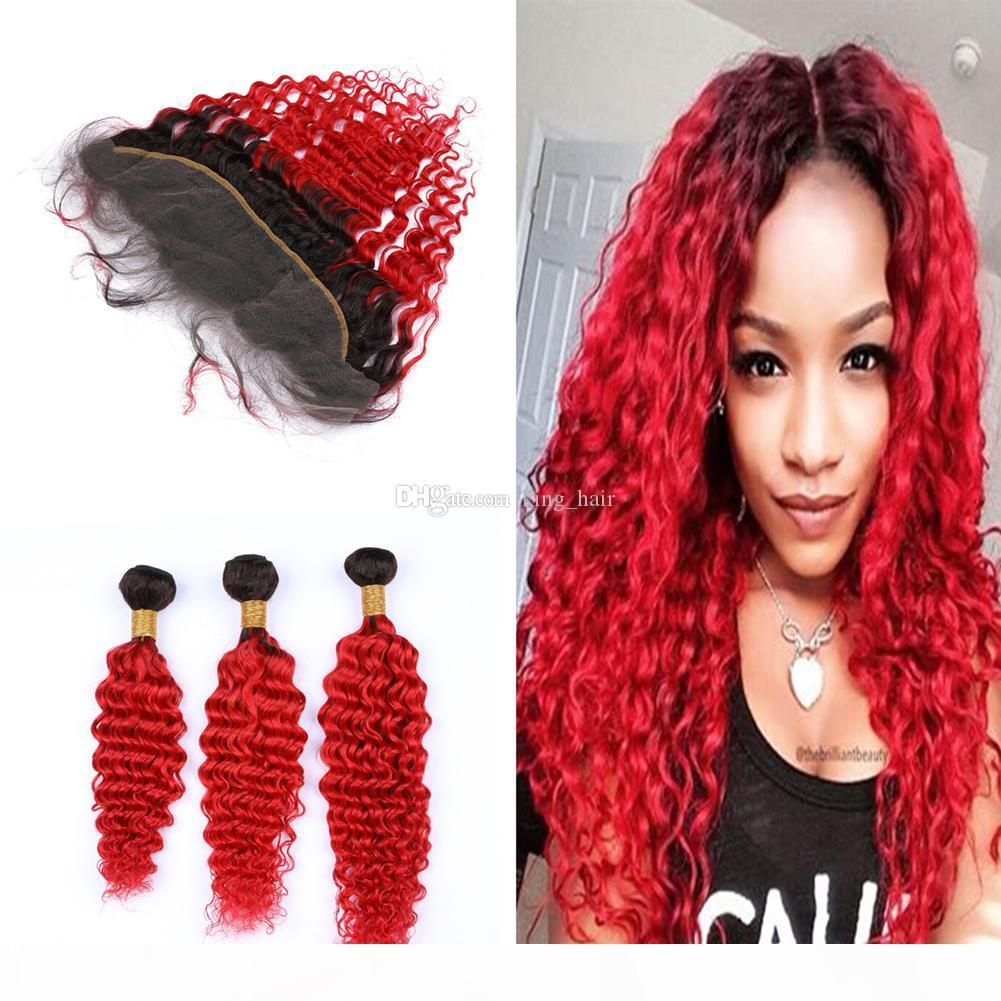 Dunkle Wurzeln freier Teil Frontal mit tiefem Curly Hair Extension Ombre Farbige tiefere Welle 1B rot 3Bundles Mit 13x4 Frontal