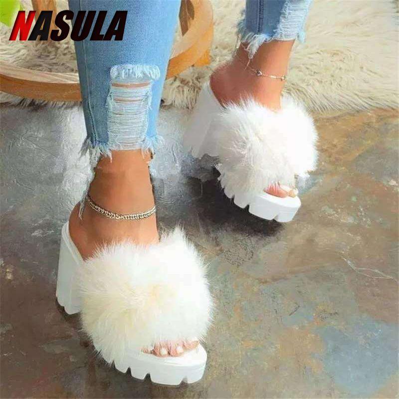 INS Kürk Yüksek Topuklu Terlik Ayakkabı Kadın Kabarık Kadın Terler Kürklü Dames Fuzzy Bayanlar Peluş Schoenen Fenty Bırak Gemisi 201127