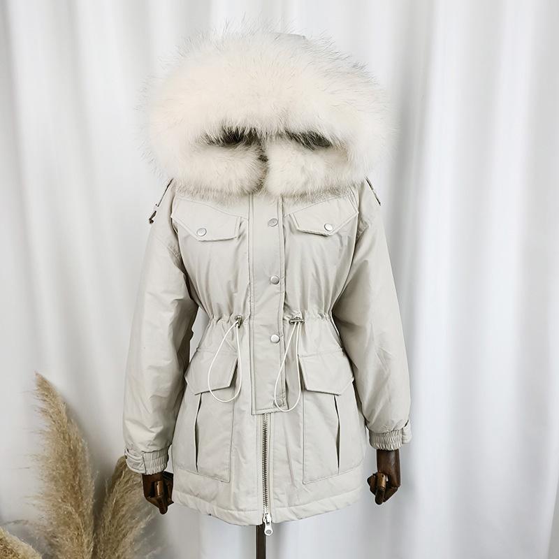 Aşağı Parkas Kadınlar Beyaz Aşağı Coat Gevşek Kapşonlu Ceket Kadın Windproof Ördek eskitmek Isınma 2020 Yeni Kış Real Rakun Kürk Yaka