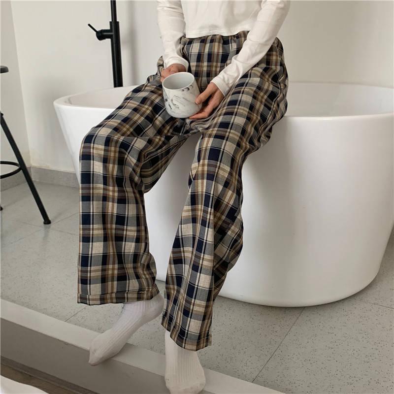 Kadınlar için Damalı Pantolon Vintage Ekose Pantolon Moda Kore Tarzı Geniş Bacak Pantolon Kadın Yaz Mavi Harajuku Büyük Boy Pantolon 201106