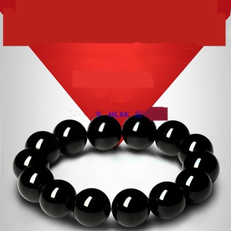 Armband reines Schwarz Gold ObsidianStone Armband Obsidian Obsidian Männer und Frauen Kristall-Schmuck Handwerk Geschenk 6-20mm auSuw