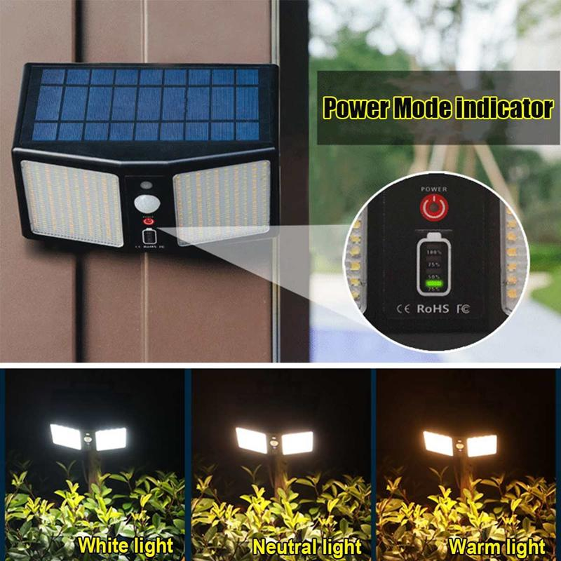Umlight1688 360 LED 3 color 2000 Lumens Solar Wall Lamps 6 mode remote control Outdoor Yard Garden Street