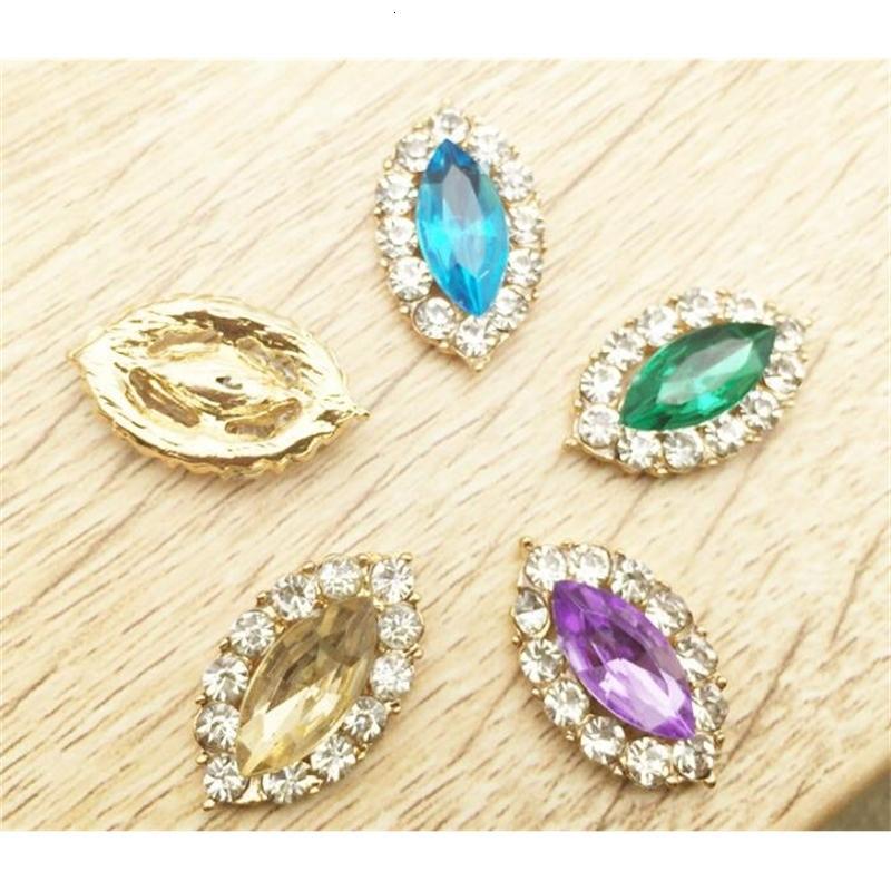 50 stücke Augenform Rhinestone Kristall Perlen Button Flatback für Scrapbooking Handwerk DIY Haarspange Zubehör