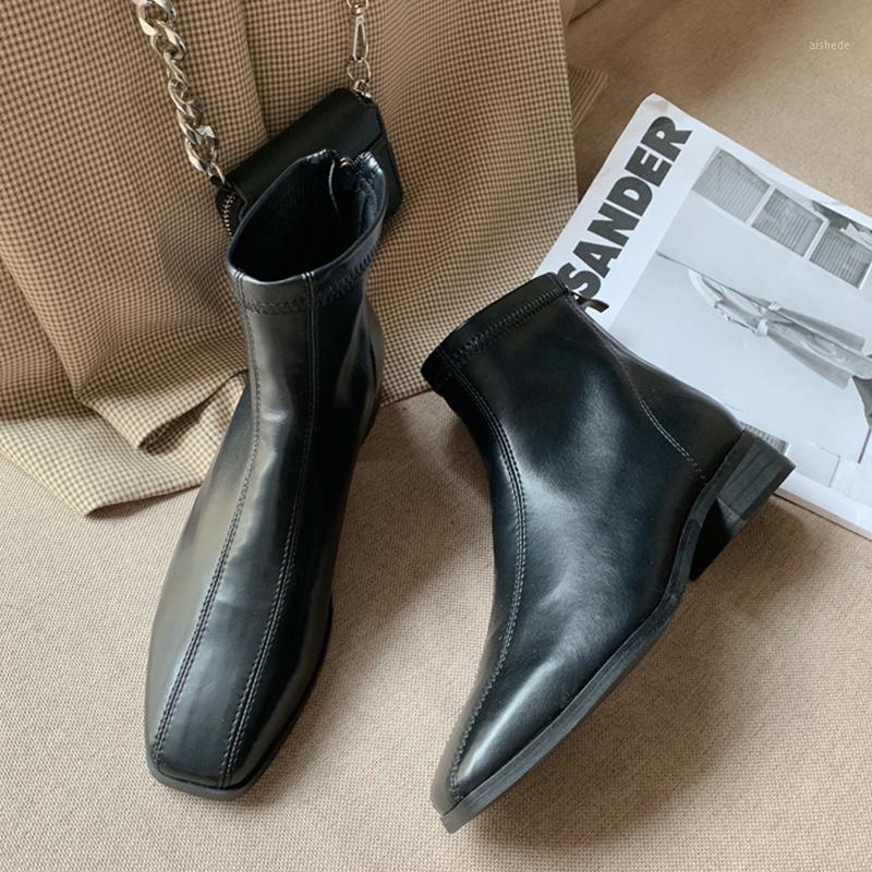 Stivali 2021 PU caviglia in pelle per le donne scarpe autunno inverno tacco basso tacco basso gotico cowboy moto bottini1
