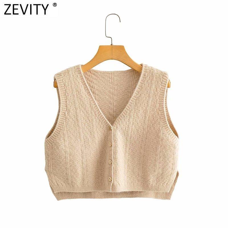 Zevity Frauen Fashion V-Ausschnitt ärmellos Strickweste Jacke Female Einreiher Side Split beiläufige kurze Weste S502 Tops