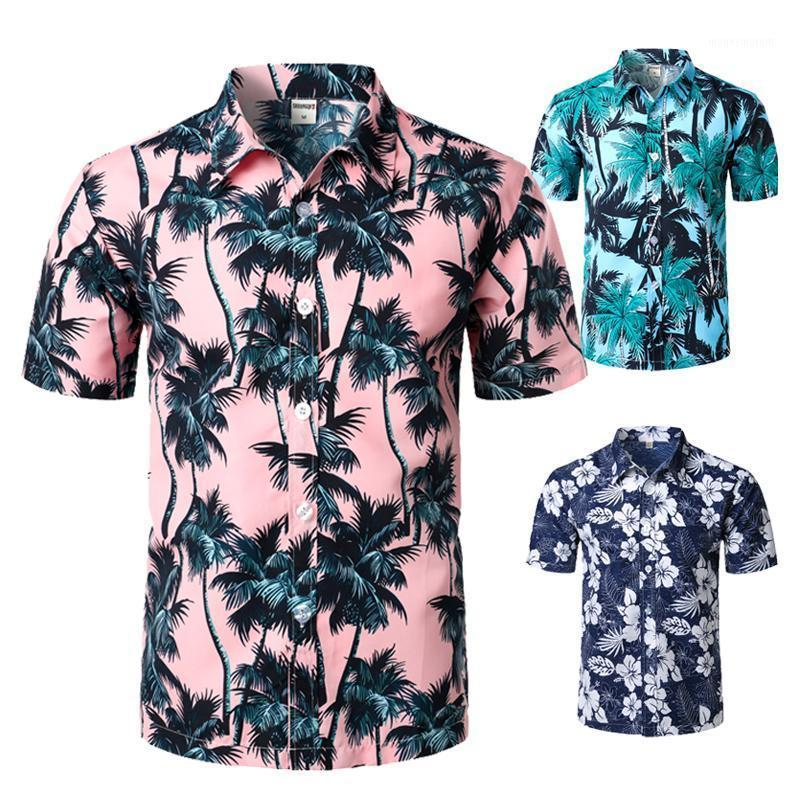 Palm Tree Stampato Camicia da spiaggia hawaiana per uomo Summer Manica corta 5xl Aloha Shirt Abbigliamento vacanze Vacanze Chemise1