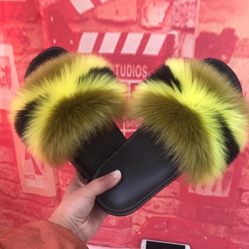 여우 모피 여성 슬리퍼 패션 2020 가을과 겨울 새로운 다채로운 섹시한 숙녀 플립 실내 및 실외 착용에 적합 신발 샌들