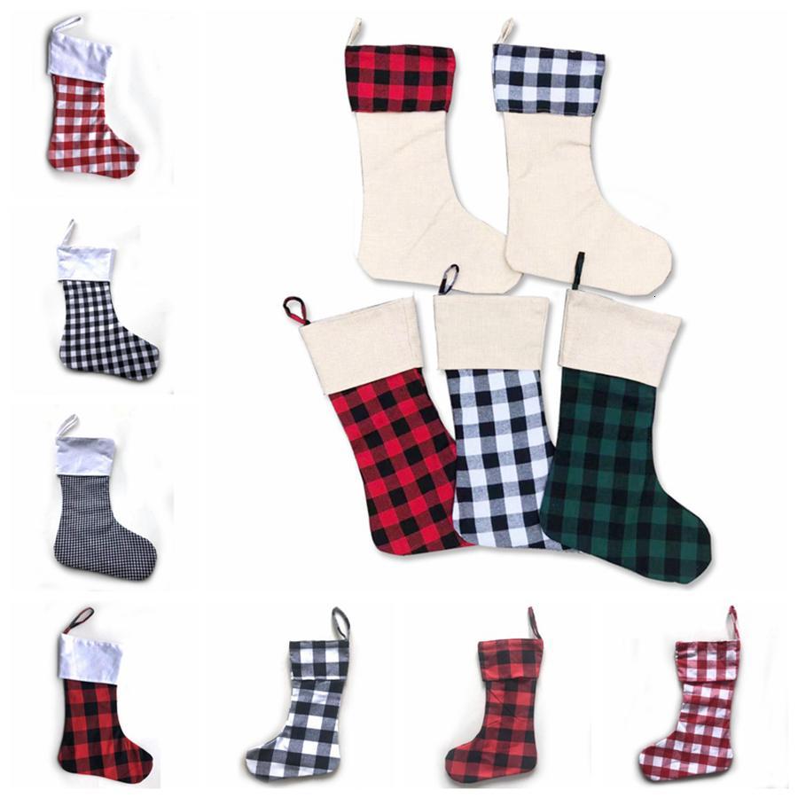 12styles Medias de Navidad Compruebe media de la Navidad de la tela escocesa de Navidad calcetines del caramelo bolsa de regalo colgante de interior colgante de Navidad Decoración RRA3648