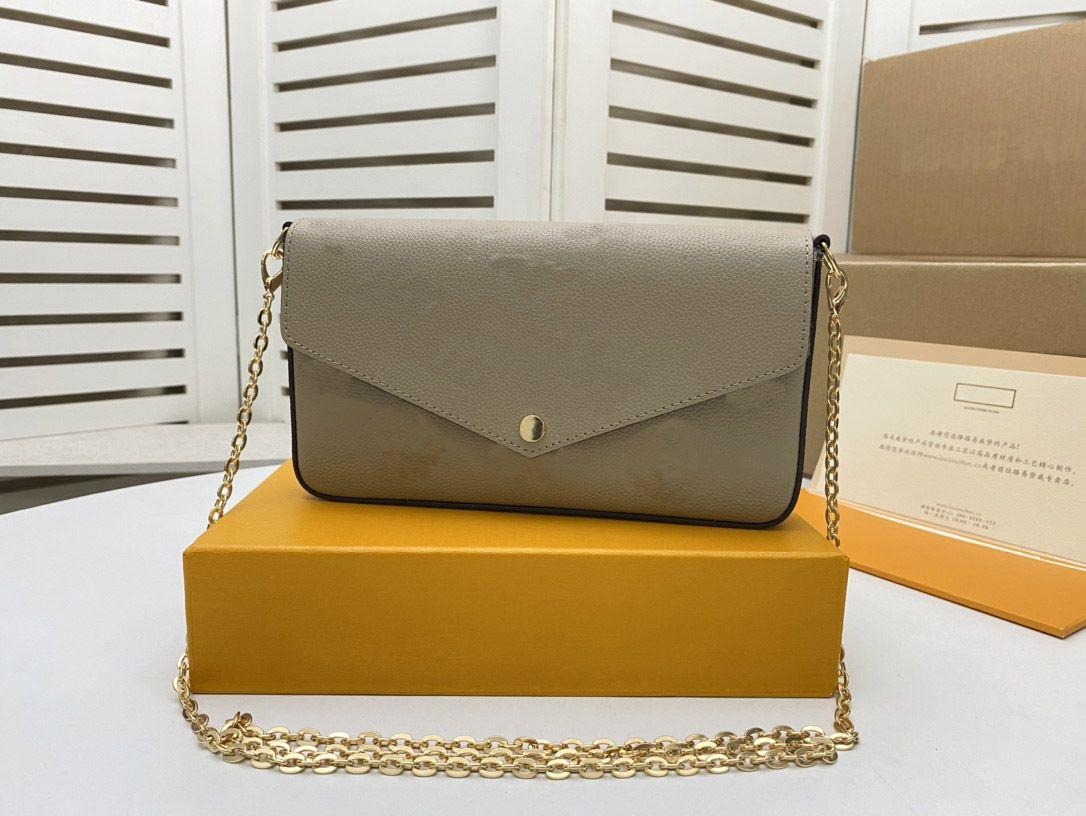 M69977 Felicie Pochette Canvas Impressão Motivo Estilo Envelope-Style Bolsa Características Removíveis Inside Pockets Lady Chain Saco de Ombro Bolsa de Embreagem