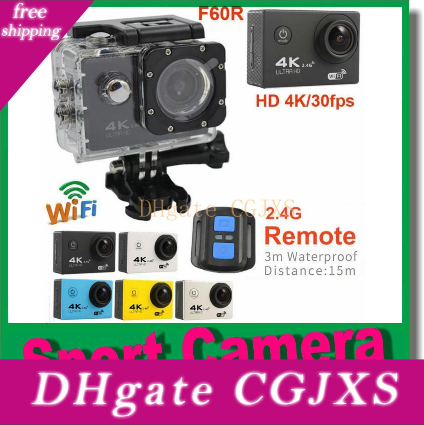 Действие камеры Ultra HD 4K 30fps Wifi 1080p / 60fps 2 +0,0 Lcd 170d объектив шлем Cam Go Водонепроницаемый Pro видеокамера с 2 .4g дистанционного управления JBD -N