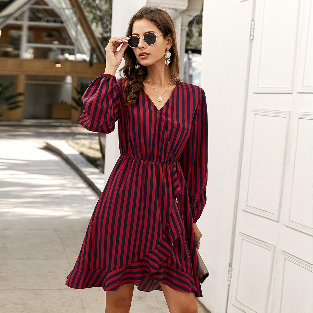 Mode Womens Wear Robe à rayures 2020 NOUVELLES VÊTEMENTS AUTOMNES Jupe à manches longues