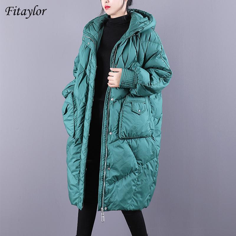 Fitaylor Зимнего Сыпучего капюшон Длинных куртки Женщина 90% белая утка вниз пальто Высокого качества хлеб Parka Толстые Теплое Сращивание Outwear