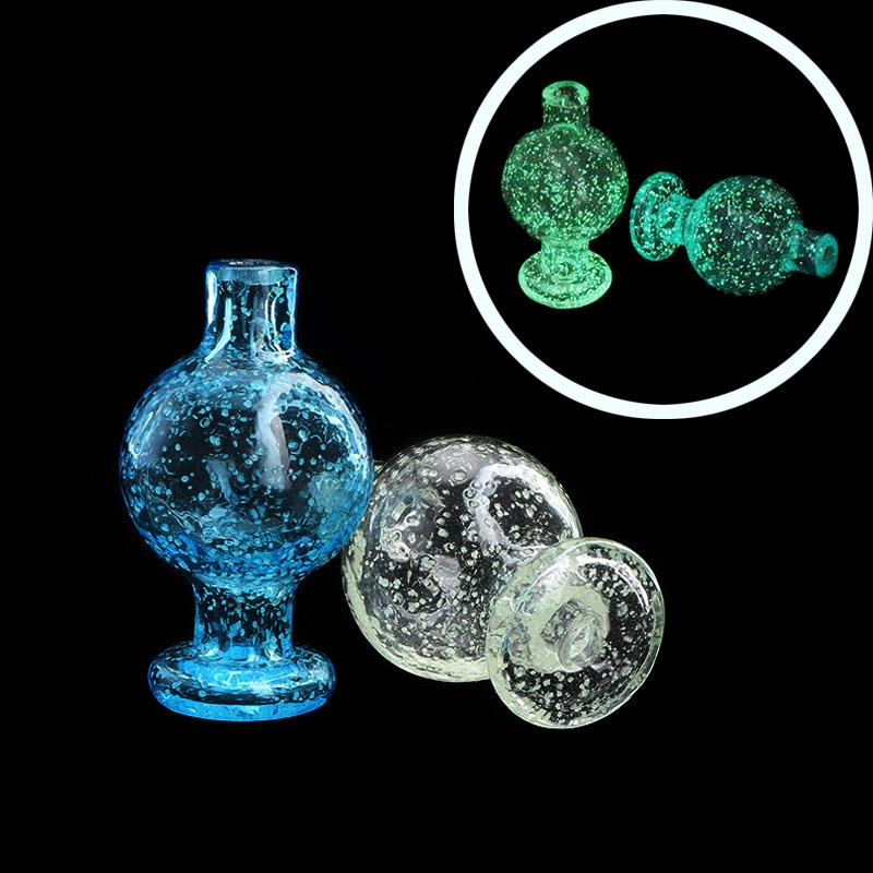25mmOD New Luminous Glass Bubble Carb Cap Blue Green Glass Carb Caps Heady Smoking Accessories For Beveled Edge Quartz Banger Nails Dab Rigs