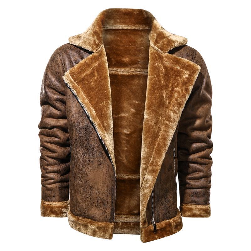 Jaquetas de couro mens motociclista motociclista de espessura windproof windbreaker quente roupa masculina tamanho grande preto marrom pu casaco homens sobretudo