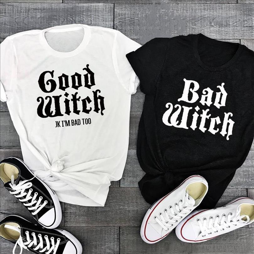 BAD WITCH GOOD WITCH Letter Printed women T shirt Funny Tops Tee Shirt Femme Casual Female Best Friend Halloween Tops Tees