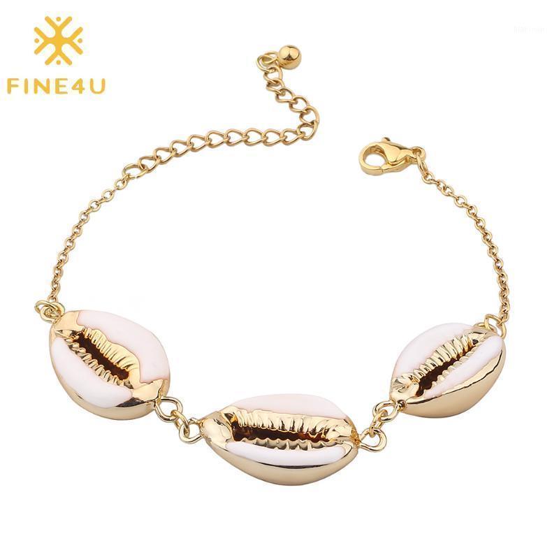 Fine4U B323 Bohemia Pulsera de la cáscara de Puka para las mujeres Pulseras de concha de mar Natural Cowrie Conch Summer Beach Jewelry1