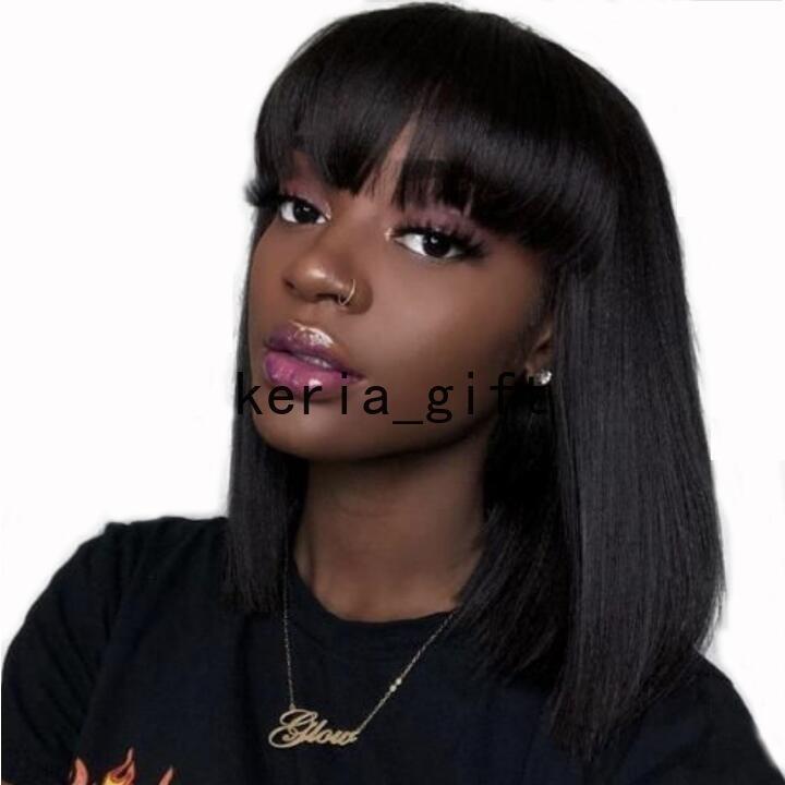 Pelucas de cabello corta corta corta para las mujeres afro negras Cabello sintético con flequillo Máquina llena de pelo no encaje hecho de pelo humano Remy Remy Black Brown Wig