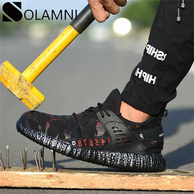 Стальная носящая мужская мужская работа против скольжения противоскользящая строительная обувь женщин дышащая промышленная сетка кроссовки мужчина y200915