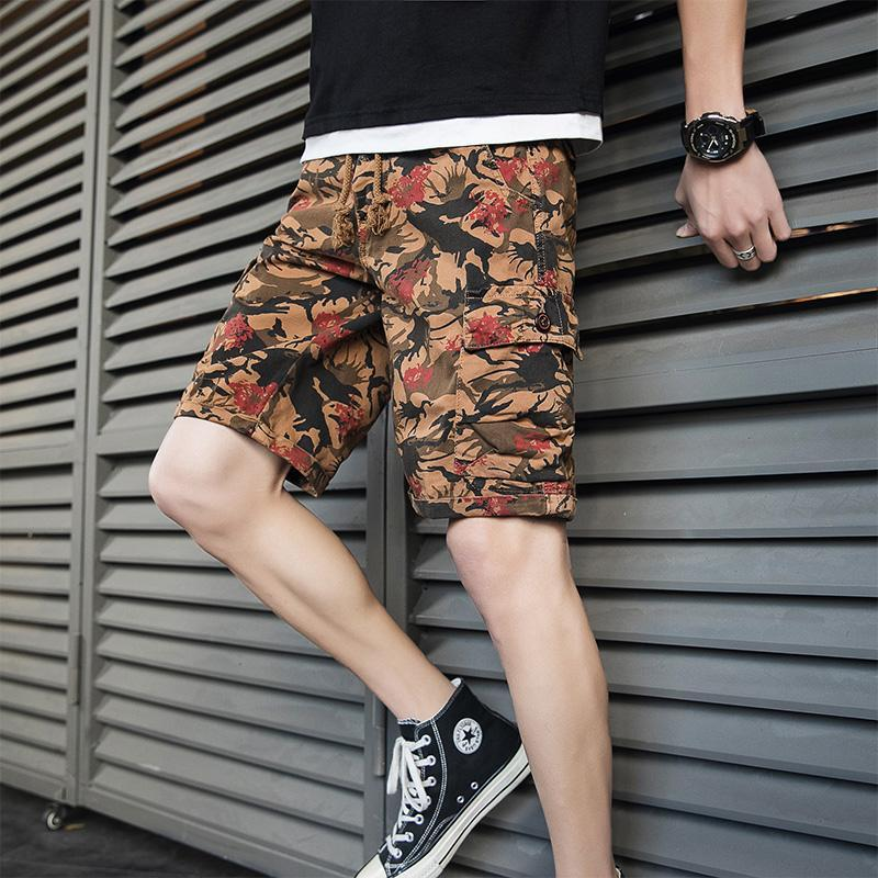 2021 Herren Klassische Retro Sommer Cargo Shorts Casual Camouflage Shorts Männer Mode Match Farben Hip Hop Hosen Streetwear
