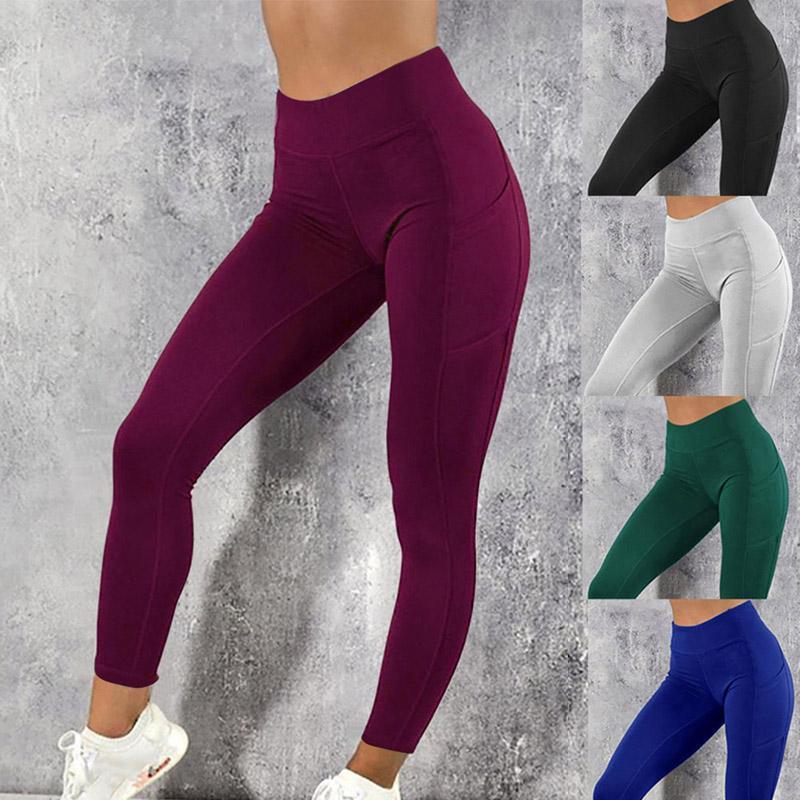 Yoga Pantolon Cepler Ile Kadın Spor Tayt Jogging Egzersiz Koşu Tayt Streç Yüksek Elastik Spor Salonu Bayan Bayan Legging Yoga Tayt
