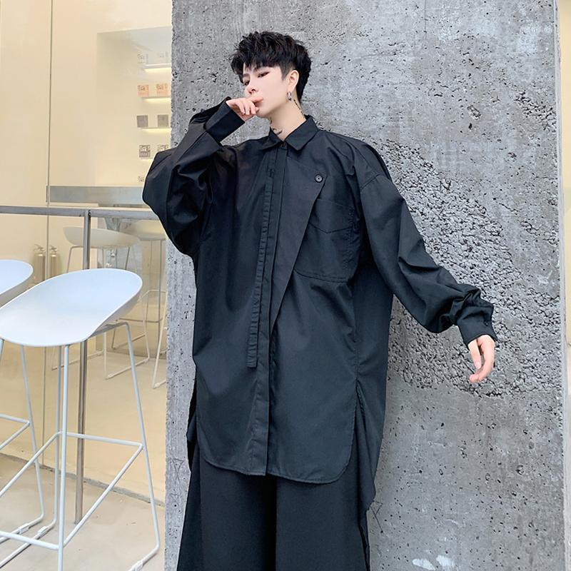 S-6XL!!2020 black irregular flap silhouette flapping art shirt popular men's slits white shirt1
