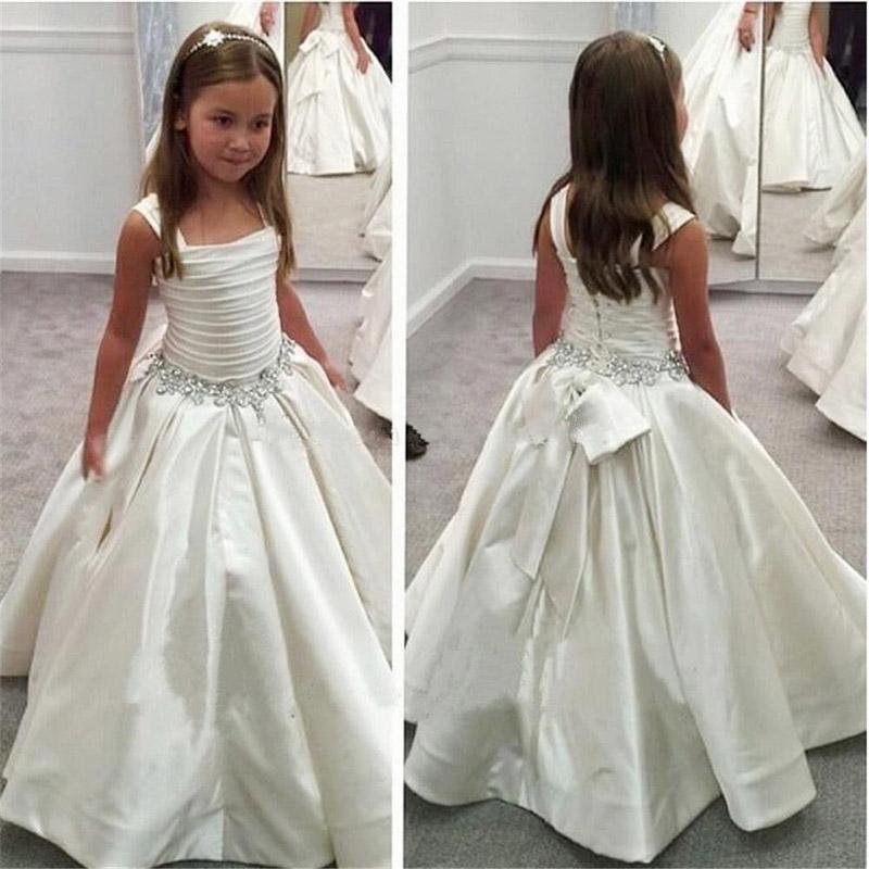 Vestido formal del vestido de primera comunión sin mangas bordado fiesta de la boda de la flor blanca vestidos de niña Para princesa Girl